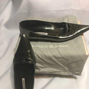 Manolo Blahnik Platinum color flat with point toe